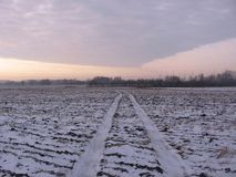 La strada attraverso il campo vuoto, le tracce dell'automobile immagini stock