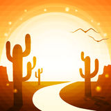 La strada attraverso il deserto Immagini Stock Libere da Diritti