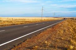 La strada attraverso la steppa. Modo in Asia. Fotografie Stock Libere da Diritti