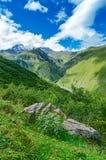La strada con la gomma segue la conduzione alle montagne Fotografia Stock