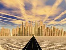 La strada conduce alla città brillante Fotografia Stock