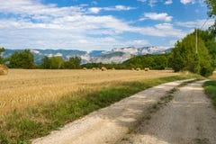 La strada del terreno coltivabile in un paesaggio della montagna con i campi ha riempito di ha Immagine Stock