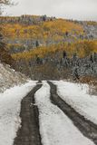 La strada 7 della contea con colore fresco di autunno e della neve fa il suo modo thr Immagine Stock Libera da Diritti