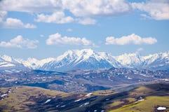 La strada della steppa va alle montagne con i picchi nevosi Altai, la valle di Kuray Immagini Stock Libere da Diritti
