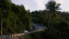 La strada di bobina scala l'ambiente in salita di vegetazione densa la strada della giungla porta stock footage