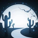 La strada di notte attraverso il deserto Fotografia Stock Libera da Diritti