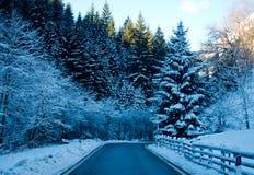 La strada di Snowy conduce alle più alte montagne immagini stock libere da diritti