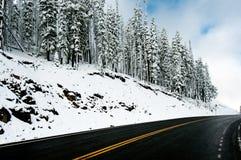 La strada a Dunraven passa sopra una mattina gelida, Yellowstone NP fotografia stock libera da diritti