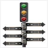 La strada e la via con il semaforo firmano l'etichetta a spirale Infogra della freccia Immagini Stock