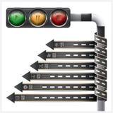 La strada e la via con il semaforo firmano l'etichetta a spirale Infogra della freccia Immagine Stock