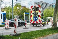 La strada ha chiuso il segno, per un'intersezione Amsterdam Buitenveldert immagine stock libera da diritti