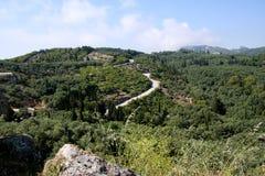 La strada in montagne la vista superiore Fotografie Stock
