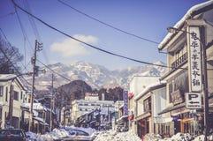 La strada nella città di Nikko al parco nazionale di Nikko, Giappone Fotografia Stock Libera da Diritti