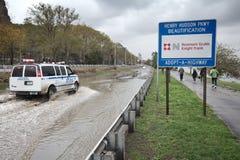 La strada panoramica si è sommersa da Hurricane Sandy, Manhattan Fotografia Stock