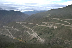 La strada principale settantadue del Sichuan-Tibet al fiume del NU Fotografie Stock