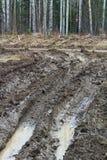 La strada privata del fango rutted su 4x4 da ` s Fotografie Stock