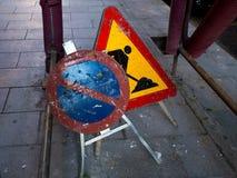 La strada ripara i segni Immagini Stock Libere da Diritti