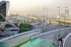 La strada soprelevata che connette la Malesia e Singapore Fotografia Stock