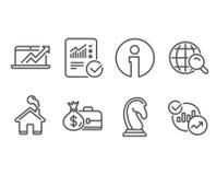La stratégie marketing, ventes diagram et a vérifié des icônes de calcul Recherche de salaire, d'Internet et signes de statistiqu Image stock
