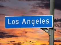 LA Street Sign Sunset Royalty Free Stock Photo