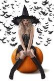 La strega sensuale si è vestita nel nero Immagine Stock Libera da Diritti