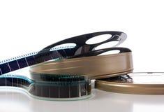 La striscia della pellicola, bobina e può Fotografie Stock