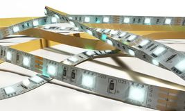 La striscia di diodo ha condotto le luci il primo piano 3d del nastro che rende su bianco Fotografie Stock Libere da Diritti
