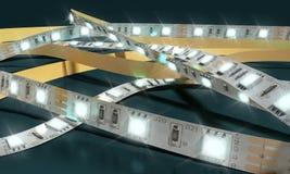 La striscia di diodo ha condotto le luci il primo piano 3d del nastro che rende su darck Immagine Stock