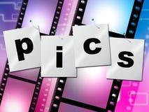 La striscia di pellicola di Pics indica le foto fotografia ed immagine Fotografia Stock Libera da Diritti