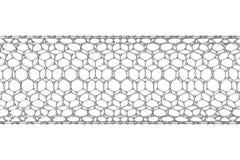 La structure du tube de graphene de la nanotechnologie illustration 3D Images libres de droits