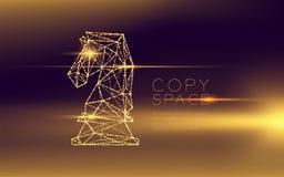 La structure et la lentille futuristes de cadre de lumière de bokeh de polygone de wireframe de chevalier d'échecs évasent, illus illustration stock
