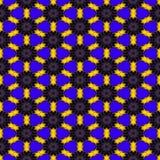 La structure hexagonale symétrique abstraite sans couture des points noirs s'est reliée aux lignes jaunes sur le fond bleu Photographie stock libre de droits