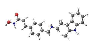 La structure moléculaire de Panobinostat a isolé sur le blanc illustration stock