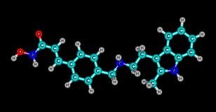 La structure moléculaire de Panobinostat a isolé sur le noir illustration stock
