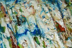 La structure rouge verte argentée repère le fond, la peinture cireuse boueuse de scintillement, fond de formes de contraste dans  Images libres de droits