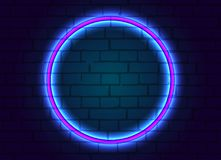 La struttura al neon è in tondo sul fondo del muro di mattoni illustrazione vettoriale