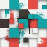 La struttura astratta con i quadrati e la pittura spruzza Fotografie Stock Libere da Diritti