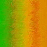 La struttura astratta verde arancio con la spazzola casuale segna il backgrou Immagini Stock