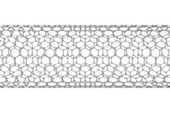 La struttura del tubo del graphene di nanotecnologia illustrazione 3D Immagini Stock Libere da Diritti
