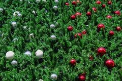 la struttura dell'albero di Natale con la palla di natale come carta da parati di American National Standard del fondo Immagini Stock