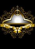 La struttura dell'oro con l'incrocio e la corona ha incorniciato il modello dei ramoscelli e delle spirali Fotografia Stock