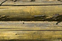 La struttura di legno della parete colorata vecchio giallo Fondo di legno Fotografia Stock