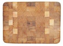 Struttura di legno con i modelli geometrici isolati su bianco Fotografia Stock