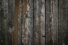 La struttura di vecchio recinto di legno con la pelatura pittura e delle crepe Carta da parati per progettazione d'annata immagine stock libera da diritti