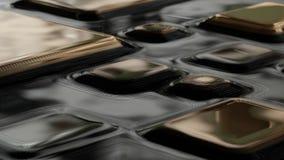 La struttura dorata del quadro televisivo, le linee di livello dell'oro modello, quadrato curvo ha arrotondato il fondo dei piatt illustrazione di stock