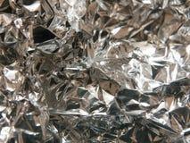 La struttura ed il modello increspato di foglio di alluminio d'argento Immagini Stock Libere da Diritti