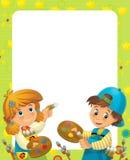 La struttura felice di pasqua - illustrazione per i bambini Fotografia Stock