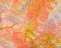 La struttura ha colorato il tessuto felted della lana e della viscosa della pecora tinta Fotografia Stock