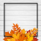 La struttura nera con l'autunno caduto va su fondo di legno bianco Fotografie Stock