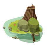 La struttura per i giochi di computer, casa, costruzione, acqua, rocce Immagini Stock
